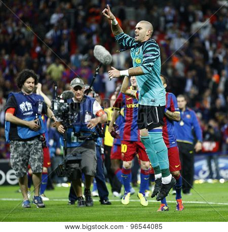 LONDON, ENGLAND. May 28 2011: Barcelona's goalkeeper Victor Valdes celebrates winning the 2011UEFA Champions League final between Manchester United and FC Barcelona, at Wembley Stadium