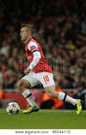 LONDON, ENGLAND - Nov 26 2013: Arsenal's Jack Wilshere during the UEFA Champions League match between Arsenal and Olympique de Marseille, at The Emirates Stadium