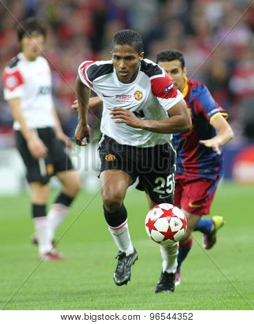 LONDON, ENGLAND. May 28 2011: Manchester's midfielder Antonio Valencia during the 2011UEFA Champions League final between Manchester United and FC Barcelona, at Wembley Stadium