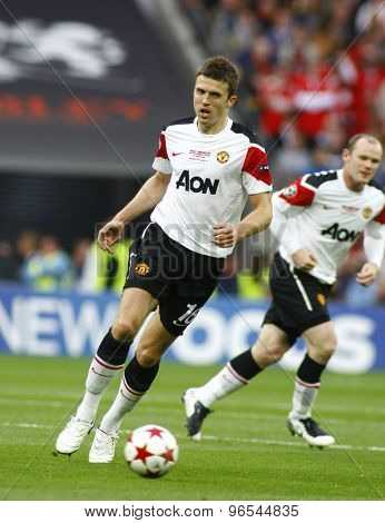 LONDON, ENGLAND. May 28 2011: Manchester's midfielder Michael Carrick during the 2011UEFA Champions League final between Manchester United and FC Barcelona, at Wembley Stadium