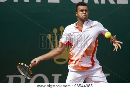 MONTE CARLO, MONACO. APRIL 17 2012 Jo-Wilfried Tsonga (FRA) in action during the second round match between Philipp Kohlschreiber (GER) and Jo-Wilfried Tsonga (FRA)  at the ATP Monte Carlo Masters  .
