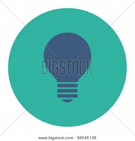 Electric Bulb flat cobalt and cyan colors round button