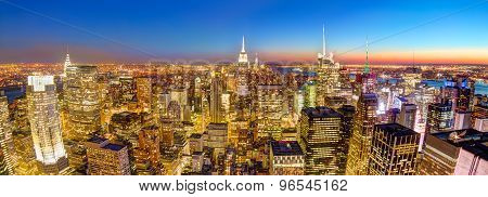 New York City Manhattan downtown skyline.