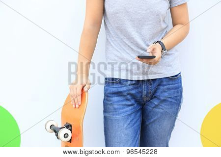 closeup of young asian woman use smartphone