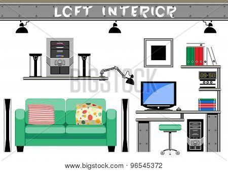 living room interior loft