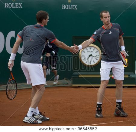 MONTE CARLO, MONACO. APRIL 17 2012 Andy and Jamie Murray (GBR) in action during their doubles match at the ATP Monte Carlo Masters  .