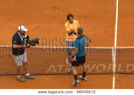 MONTE CARLO, MONACO. APRIL 18 2012 Players shake hands after Rafael Nadal (ESP) wins the second round match between Rafael Nadal (ESP) and Jarkko Nieminen (FIN)  at the ATP Monte Carlo Masters  .