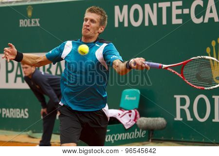 MONTE CARLO, MONACO. APRIL 18 2012 Jarkko Nieminen (FIN) in action during the second round match between Rafael Nadal (ESP) and Jarkko Nieminen (FIN)  at the ATP Monte Carlo Masters  .