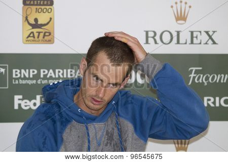 MONTE CARLO, MONACO. APRIL 19 2012 Andy Murray (GBR) during his post match press conference  at the ATP Monte Carlo Masters  .