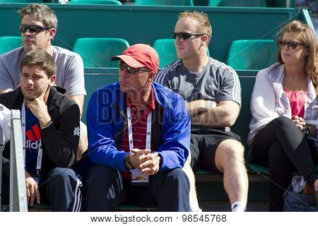 MONTE CARLO, MONACO. APRIL 19 2012  Ivan Lendl and Andy Murray's staff look on during the second round match between Andy Murray (GBR) and Julien Benneteau (FRA) at the ATP Monte Carlo Masters  .
