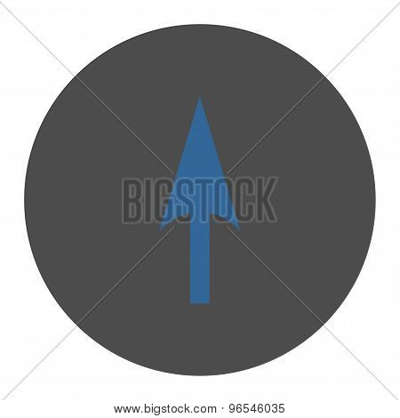 Arrow Axis Y flat cobalt and gray colors round button