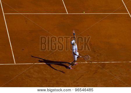 MONTE CARLO, MONACO. APRIL 21 2012 Novak Djokovic (SRB) in action during the semi final singles match between Novak Djokovic (SRB) and Tomas Berdych (CZE) at the ATP Monte Carlo Masters  .