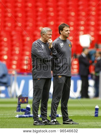 LONDON, ENGLAND. May 27 2011: Manchester's manager Sir Alex Ferguson during the official training session for the 2011UEFA Champions League final between Manchester United and FC Barcelona