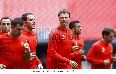 LONDON, ENGLAND. May 27 2011:  The Manchester United team during the official training session for the 2011UEFA Champions League final between Manchester United and FC Barcelona, at Wembley Stadium