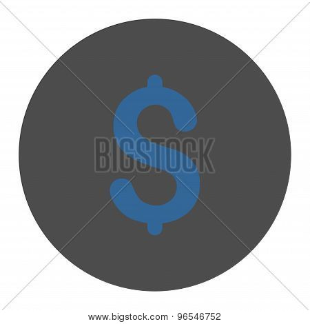 Dollar flat cobalt and gray colors round button