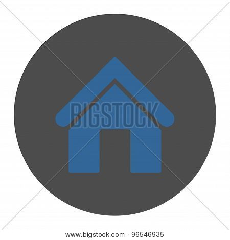 Home flat cobalt and gray colors round button