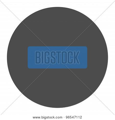 Minus flat cobalt and gray colors round button