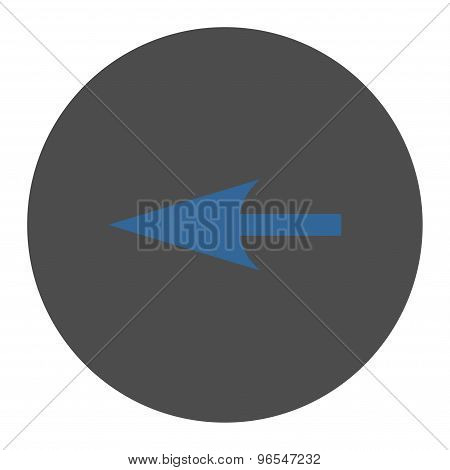 Sharp Left Arrow flat cobalt and gray colors round button