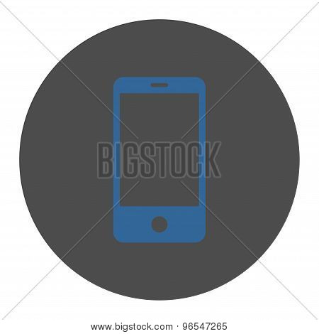 Smartphone flat cobalt and gray colors round button