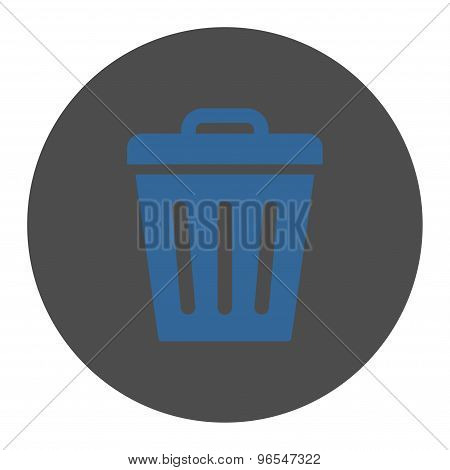 Trash Can flat cobalt and gray colors round button