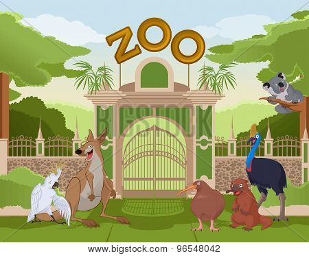 Zoo Gate With Australian Animals