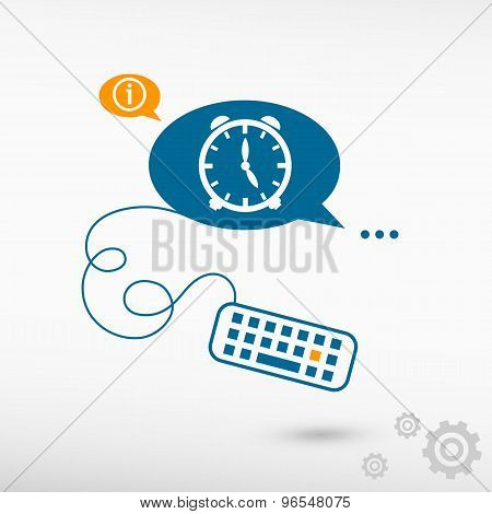 Alarm Clock And Keyboard On Chat Speech Bubbles