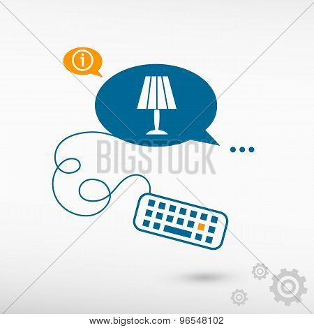 Table Lamp Icon And Keyboard On Chat Speech Bubbles