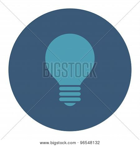 Electric Bulb flat cyan and blue colors round button