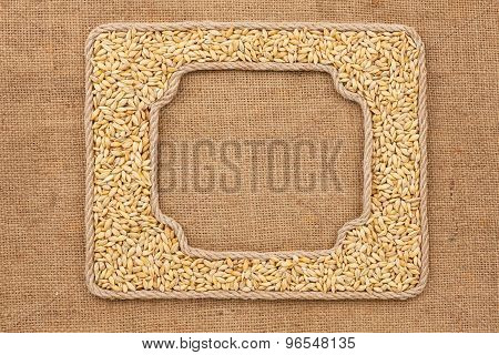 Two Frames Made Of Rope With  Barley  Grains On Sackcloth