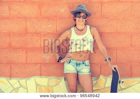 Beautiful Woman Laughing In Skateboard