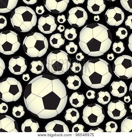 Soccer And Football Balls Dark Seamless Vector Pattern Eps10