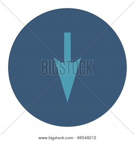 Sharp Down Arrow flat cyan and blue colors round button