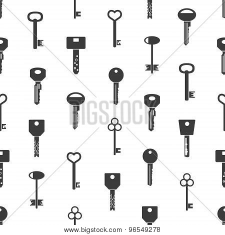 Various Black Keys Symbols For Open A Lock Seamless Pattern Eps10