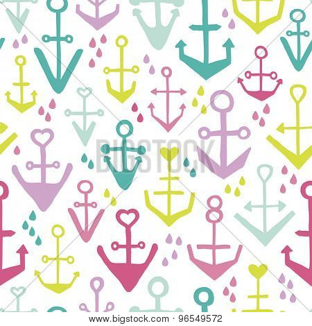 Seamless girls kids colorful anchor hello sailor marine theme illustration background pattern in vector