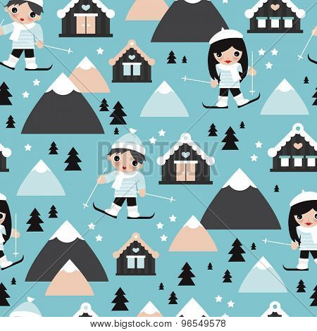 Seamless kids winter wonderland cabin ski slope snow flakes and reindeer christmas theme illustration background pattern in vector