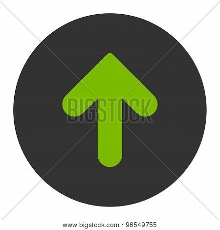Arrow Up flat eco green and gray colors round button