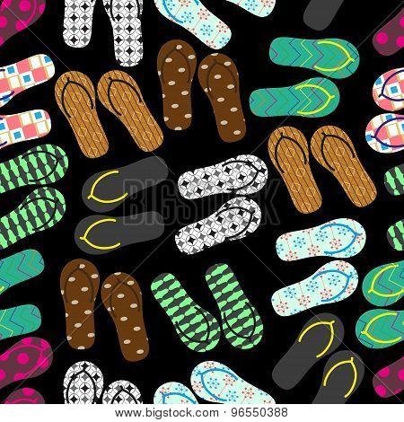 Colorful Variation Of Flip Flops Summer Shoes Dark Seamless Pattern Eps10