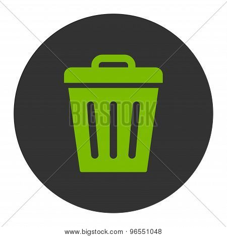 Trash Can flat eco green and gray colors round button