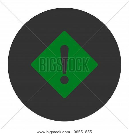 Error flat green and gray colors round button