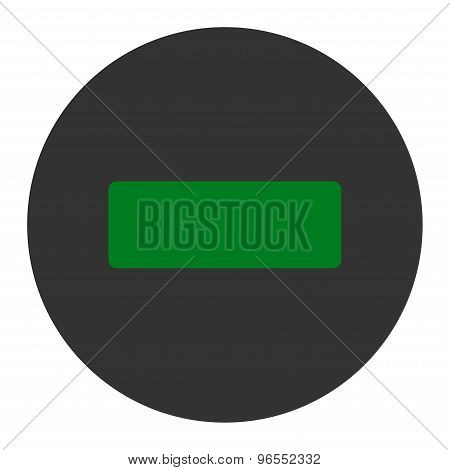 Minus flat green and gray colors round button