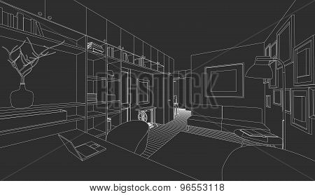 Interior on a black background