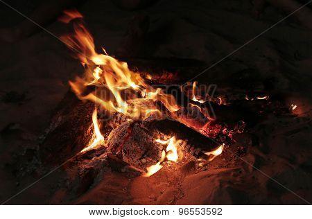 Outdoor. Bonfire on the beach