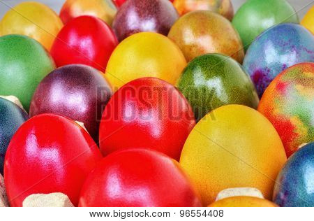 Colorful Easter eggs closeup