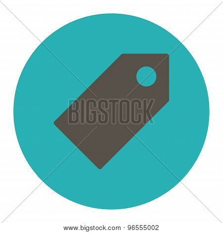 Tag flat grey and cyan colors round button