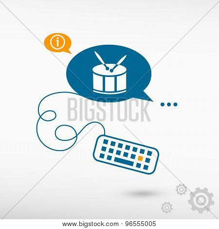 Drum Icon And Keyboard On Chat Speech Bubbles