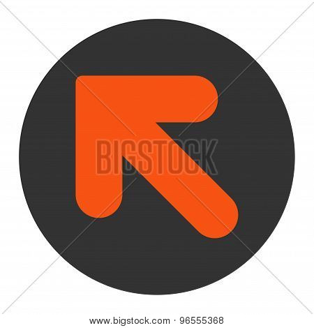 Arrow Up Left flat orange and gray colors round button