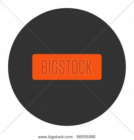 Minus flat orange and gray colors round button