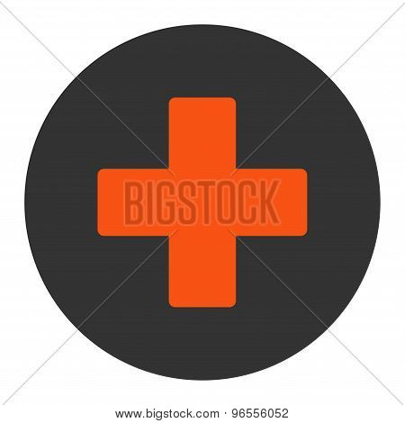 Plus flat orange and gray colors round button