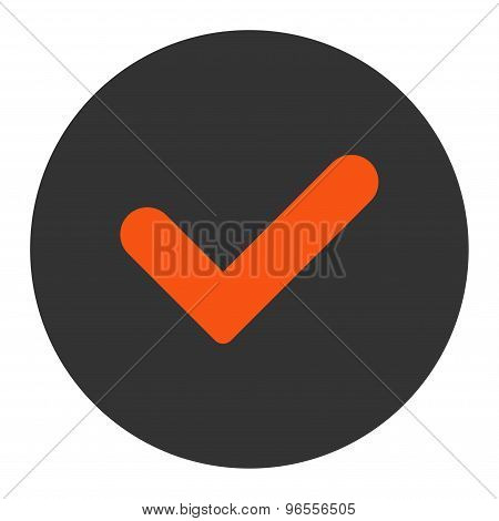 Yes flat orange and gray colors round button