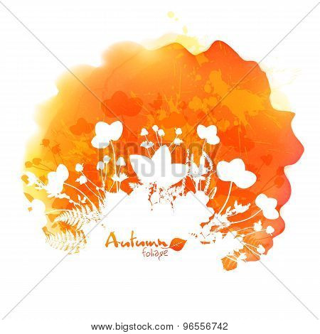 Orange vector watercolor stain with white foliage silhouette